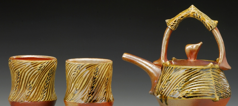 Carved Teapot and Cups